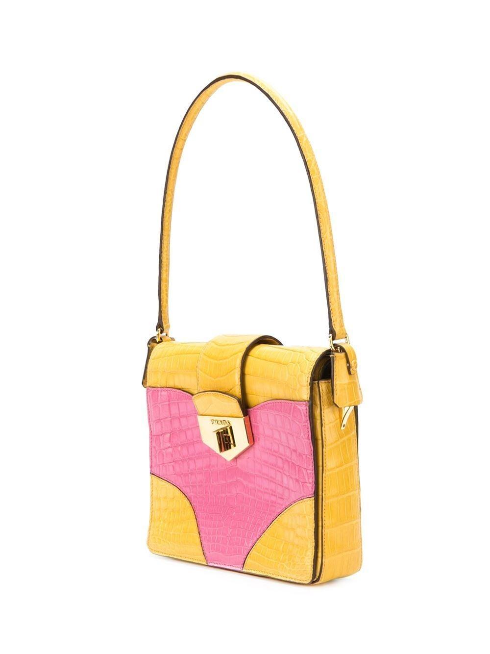 Orange UNIQUE MADE TO ORDER Prada Colour Block Crocodile Handbag For Sale