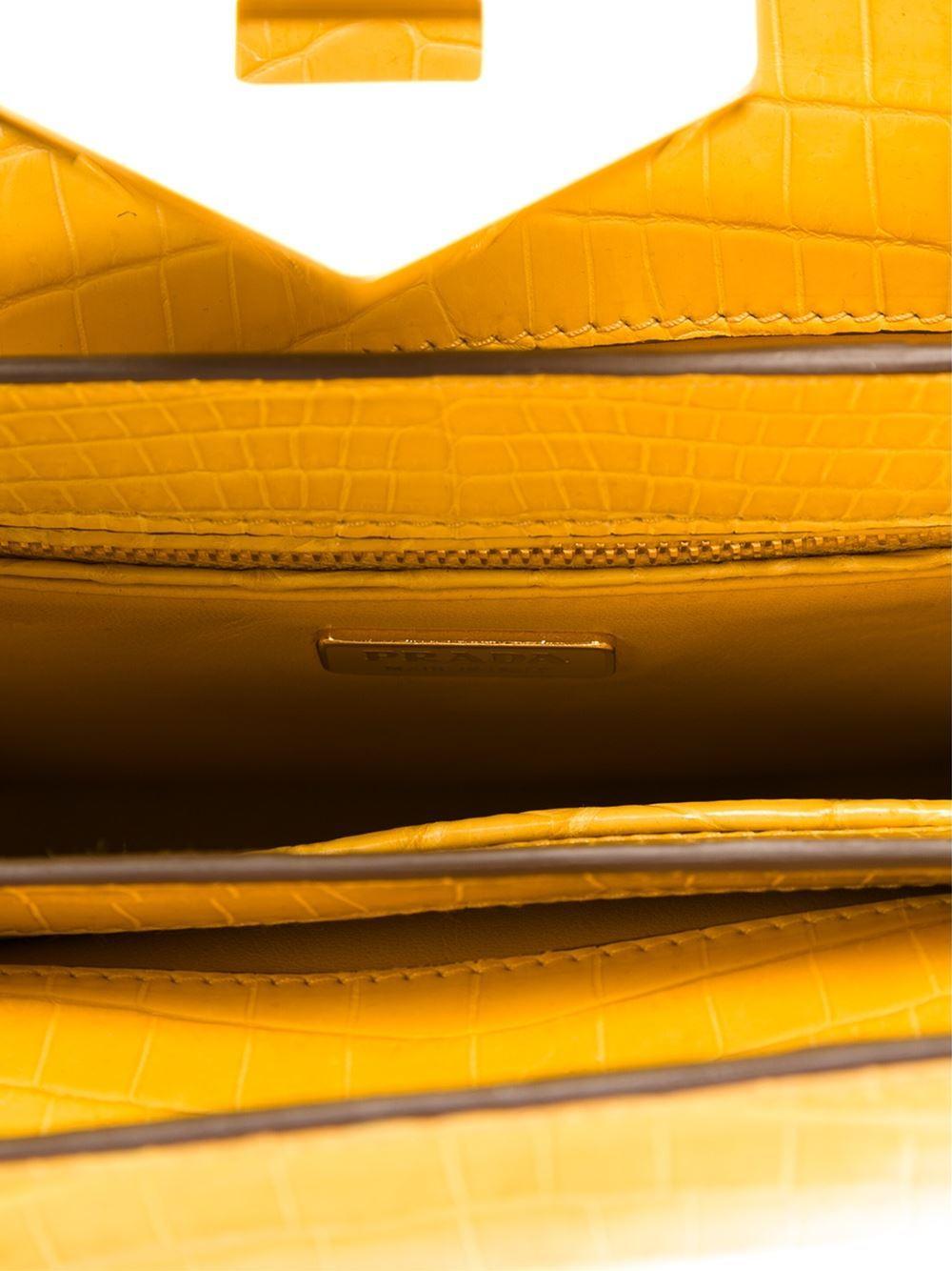 UNIQUE MADE TO ORDER Prada Colour Block Crocodile Handbag In New Condition For Sale In London, GB