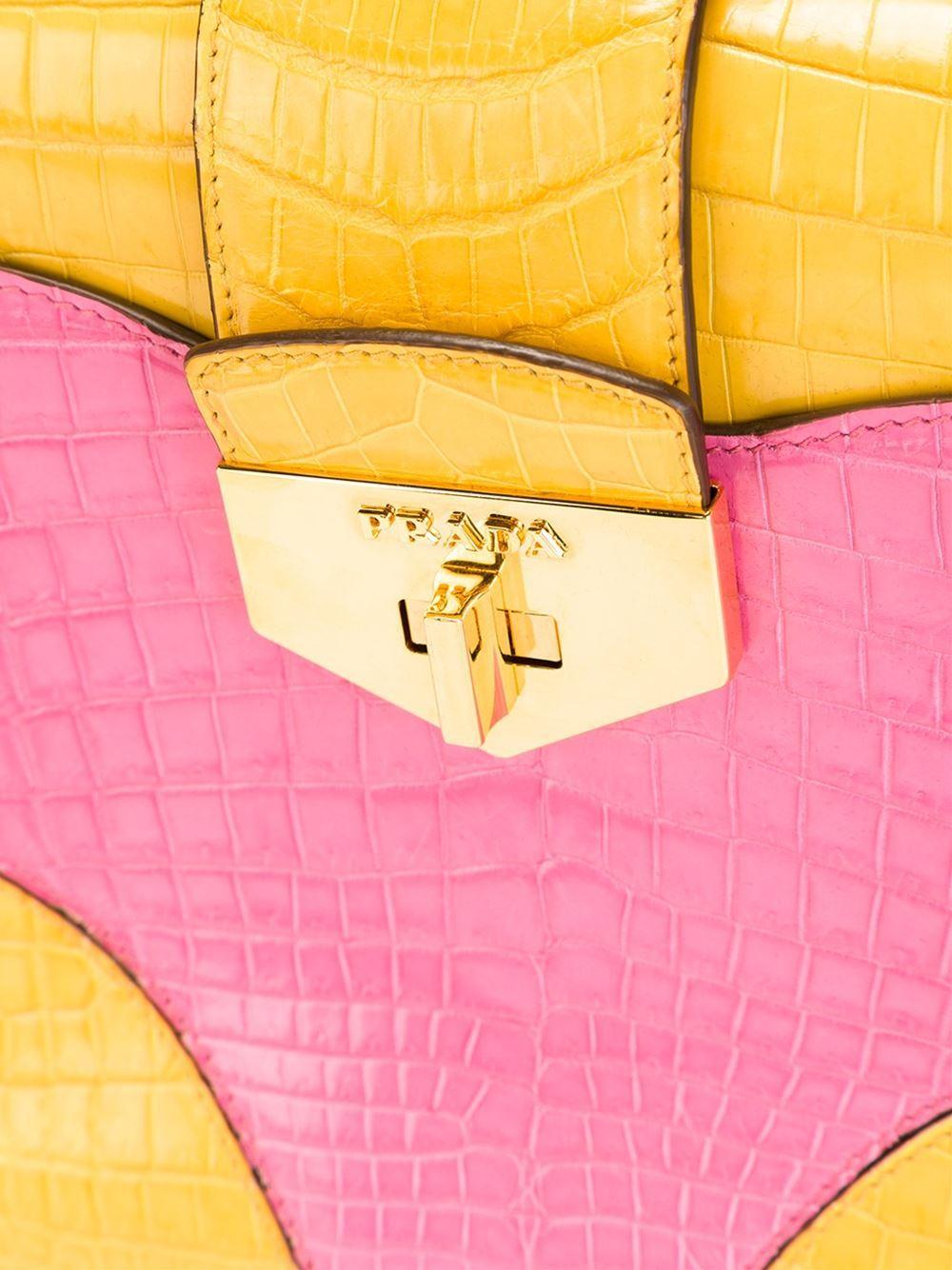 Women's UNIQUE MADE TO ORDER Prada Colour Block Crocodile Handbag For Sale