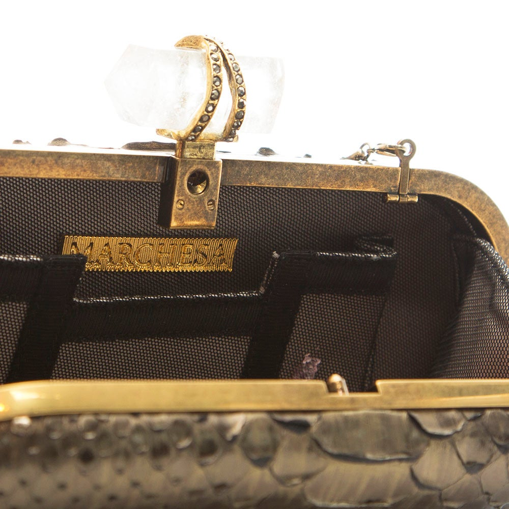 Marchesa Silver Snakeskin Clutch with Crystal For Sale 1