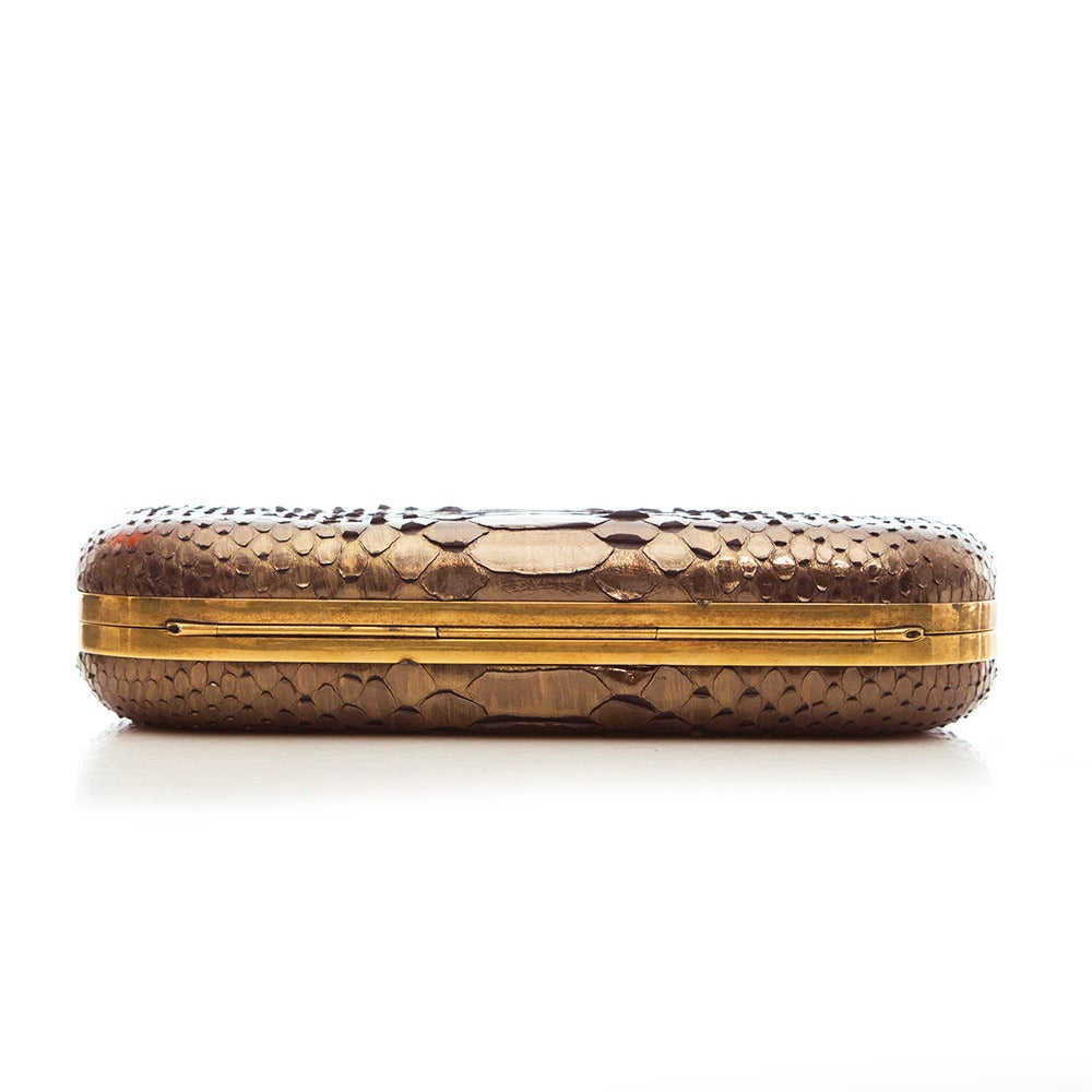 Brown Marchesa Silver Snakeskin Clutch with Crystal For Sale