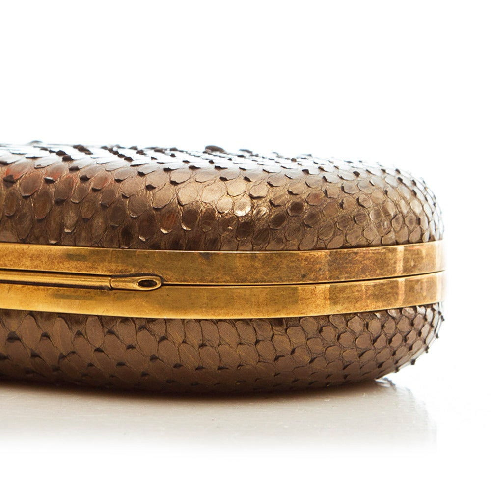 Women's Marchesa Silver Snakeskin Clutch with Crystal For Sale