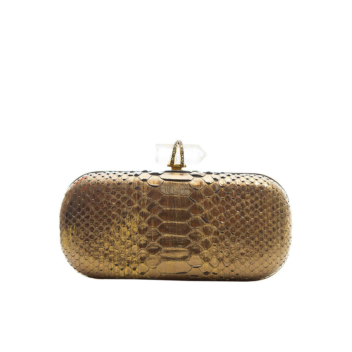 Marchesa Silver Snakeskin Clutch with Crystal