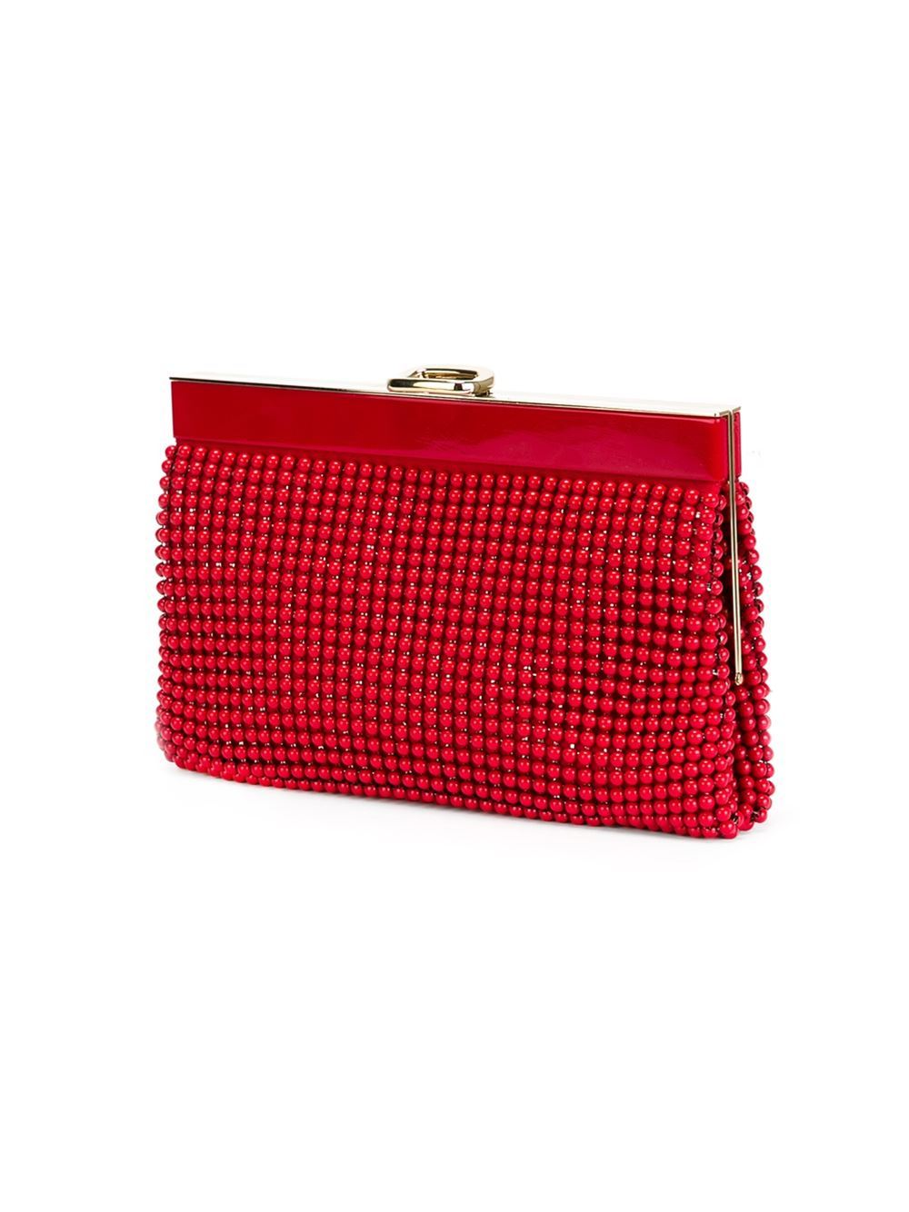This red beaded clutch from Roger Vivier Vintage features a top clasp fastening, an internal slip pocket and an internal logo stamp.