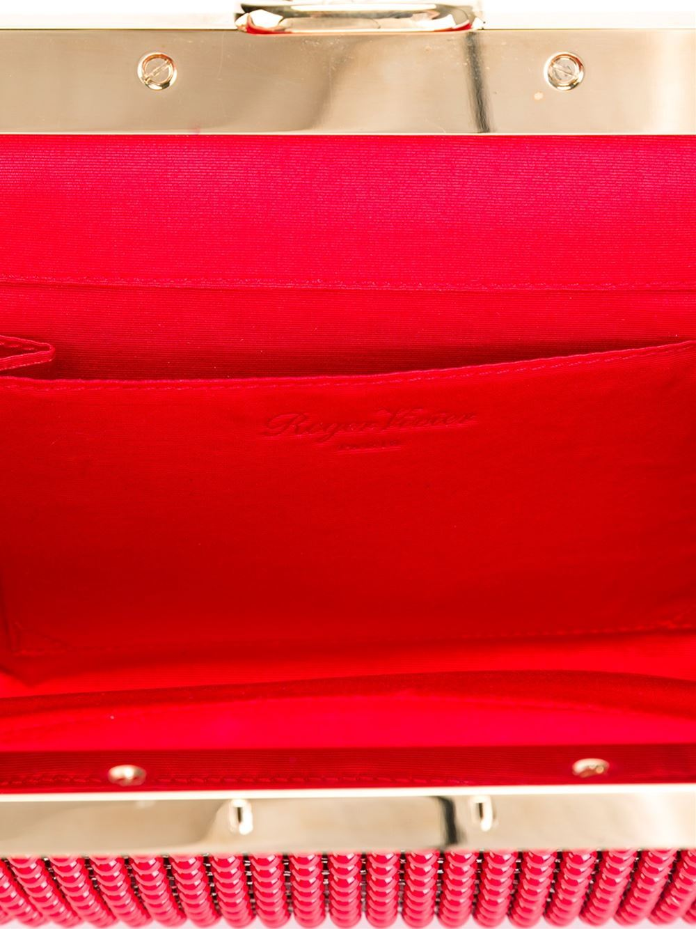 Red Roger Vivier Beaded Clutch For Sale