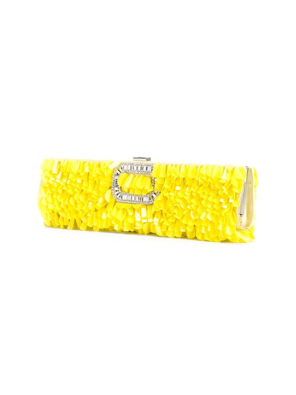 This yellow embellished clutch from Roger Vivier features a top clasp fastening, an internal logo stamp, wavy beads and crystal embellishments.  Colour: Yellow  Material: Plastic, Metal  Measurements: height: 7 centimetres, width: 33