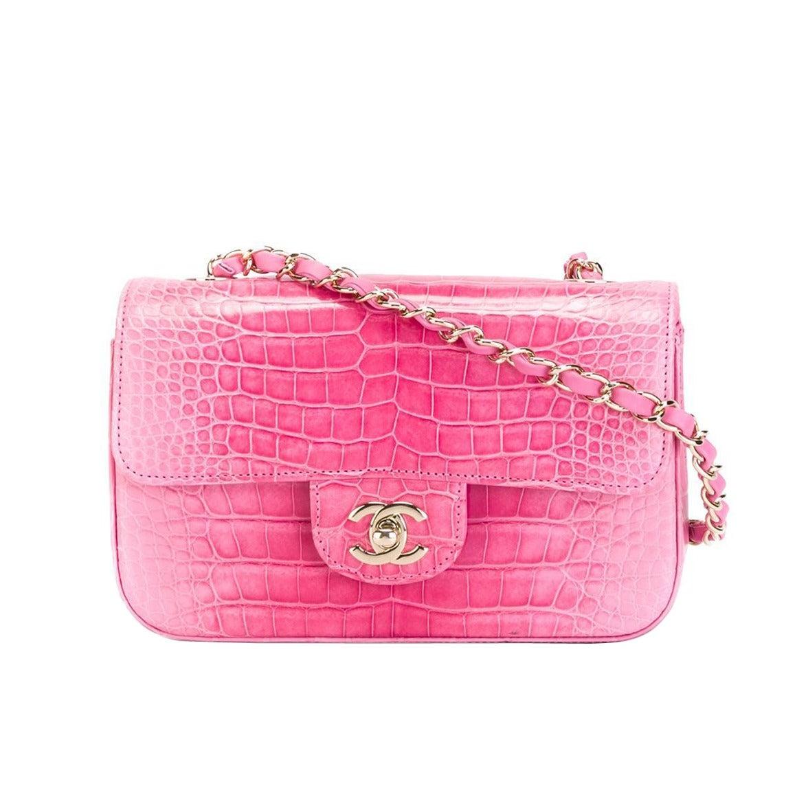 0a9958566690 Chanel Pink Crocodile Shoulder Bag at 1stdibs