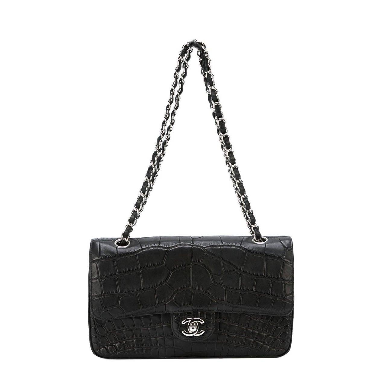 chanel black crocodile shoulder bag for sale at 1stdibs