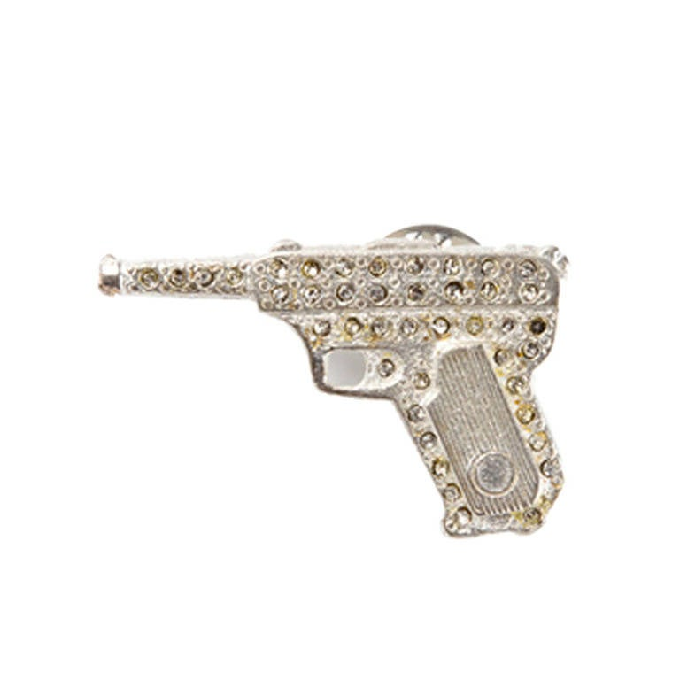 Yves Saint Laurent Vintage Embellished Gun Brooch For Sale