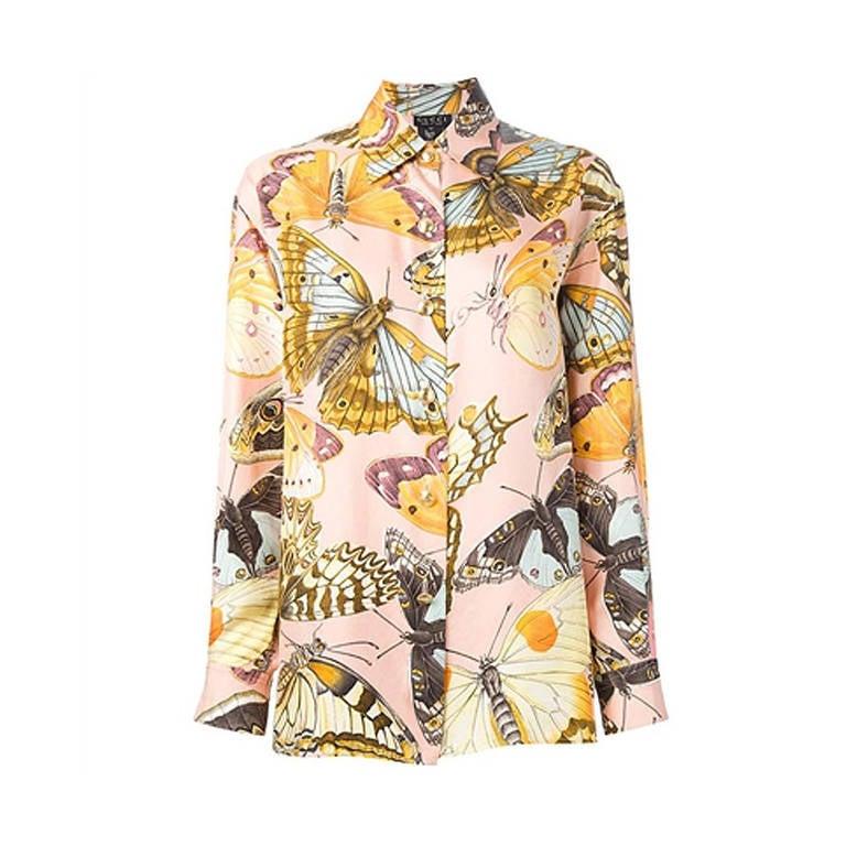 87037dde Gucci Vintage Silk Butterfly Shirt at 1stdibs