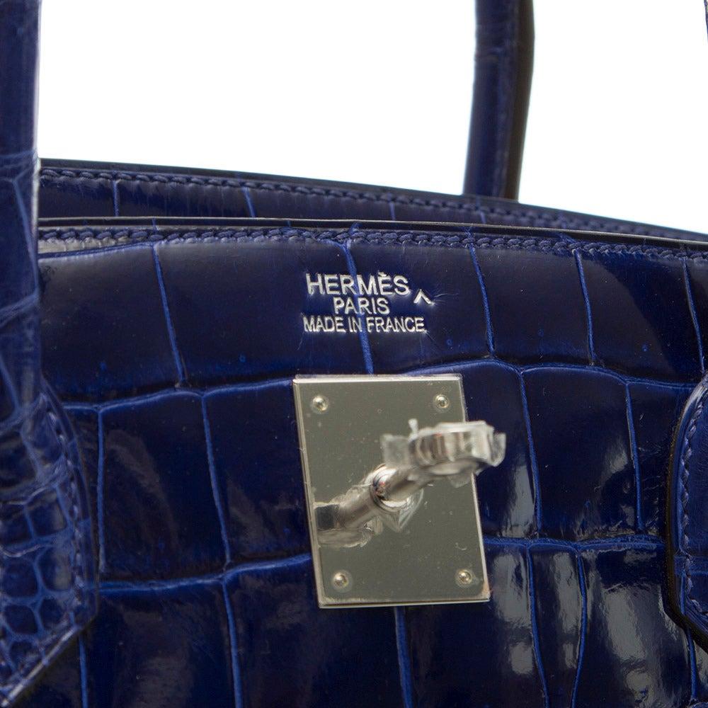 Hermès Electric Blue Porosus Crocodile Birkin 40cm RARE COLOUR -BRAND NEW For Sale 1