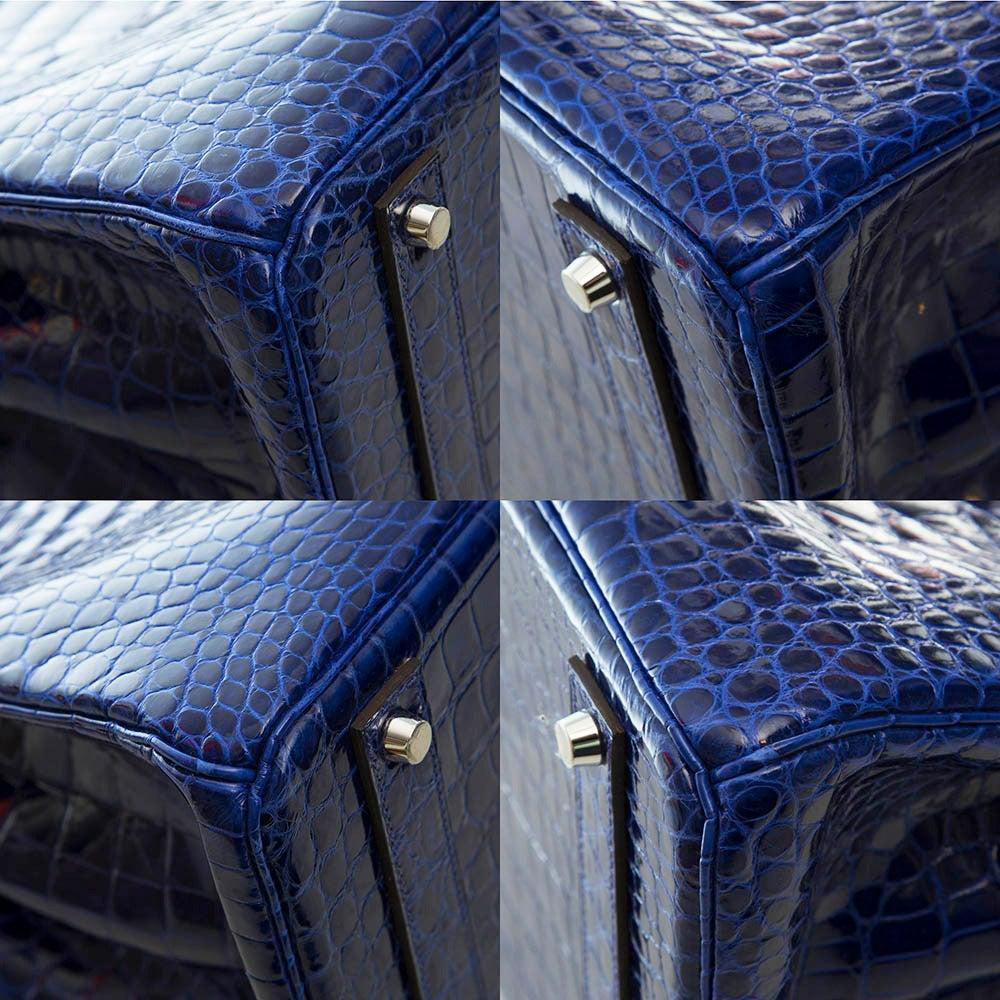 Hermès Electric Blue Porosus Crocodile Birkin 40cm RARE COLOUR -BRAND NEW For Sale 3