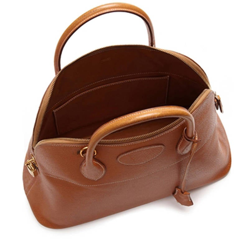 Hermès Vintage Bolide Tan Leather Bag In Excellent Condition For Sale In London, GB
