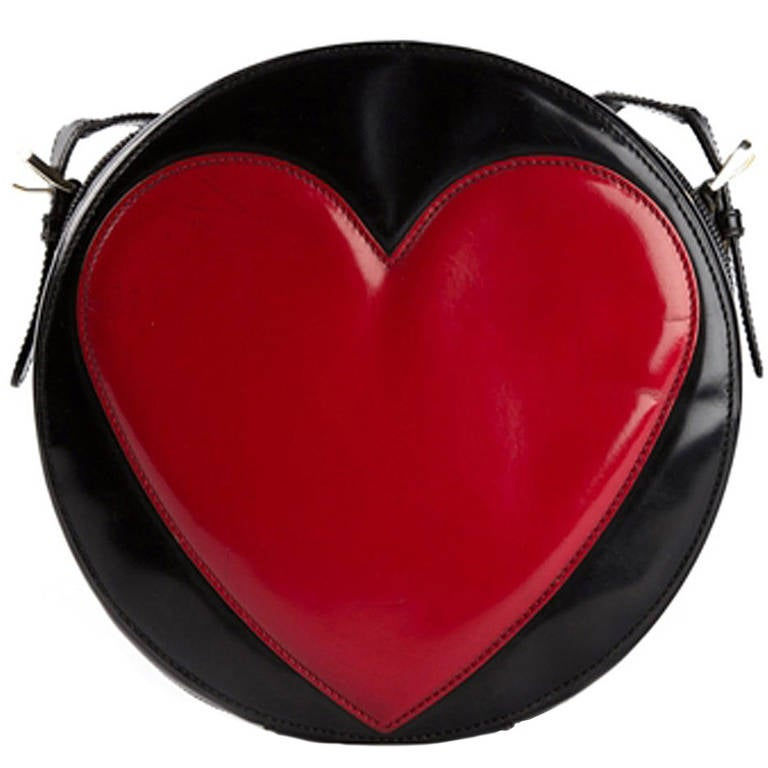 Moschino Pre-owned - BLACK AND RED HEART SHOULDER BAG 71N7x