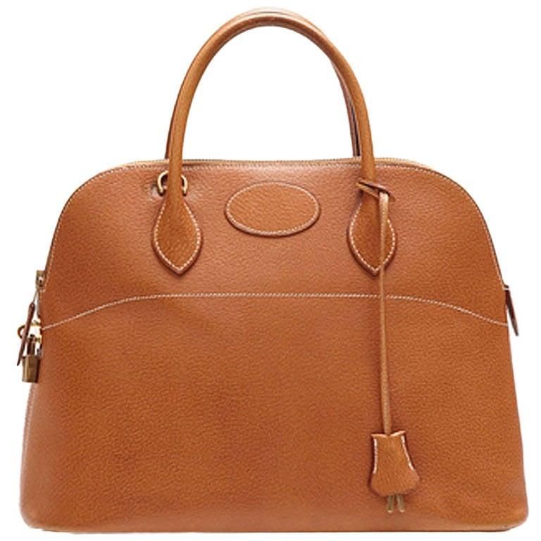 Hermès Vintage Bolide Tan Leather Bag 1
