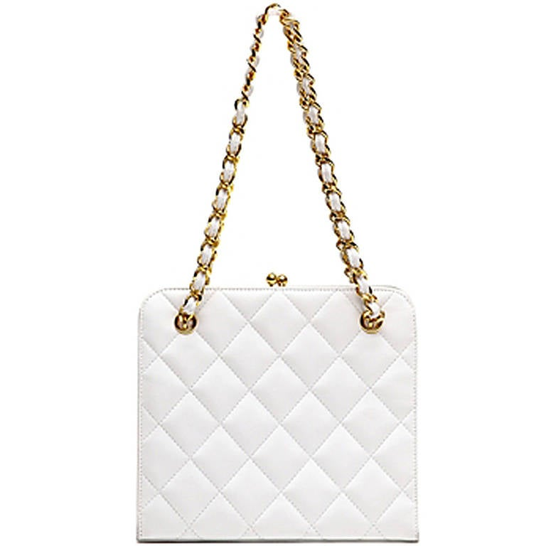 Chanel Vintage Small White Bag 1