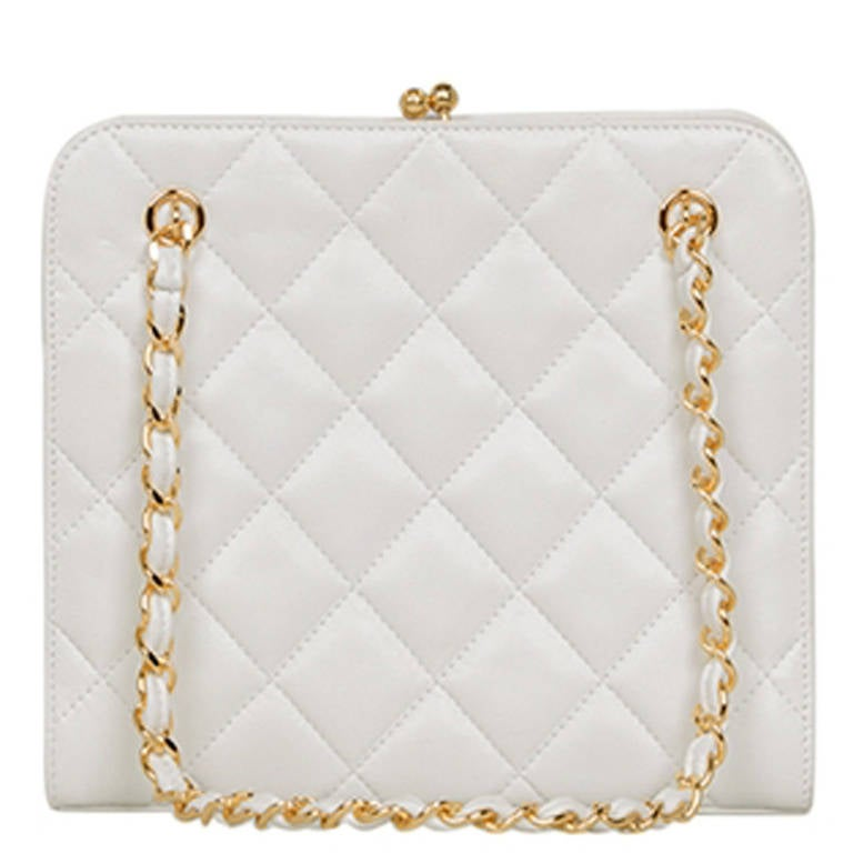 Chanel Vintage Small White Bag 3