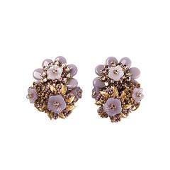 Stanley Hagler 1950s Floral Earrings