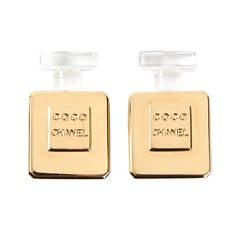 Chanel Vintage Clip On Perfume Bottle Earrings