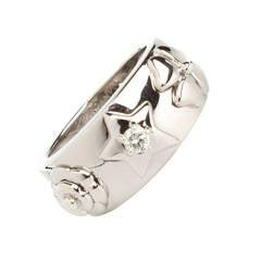 Chanel Vintage Embossed Motif 18K White Gold Ring