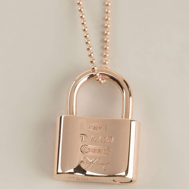 Tiffany And Co Vintage 18k Rose Gold Lock Pendant Necklace