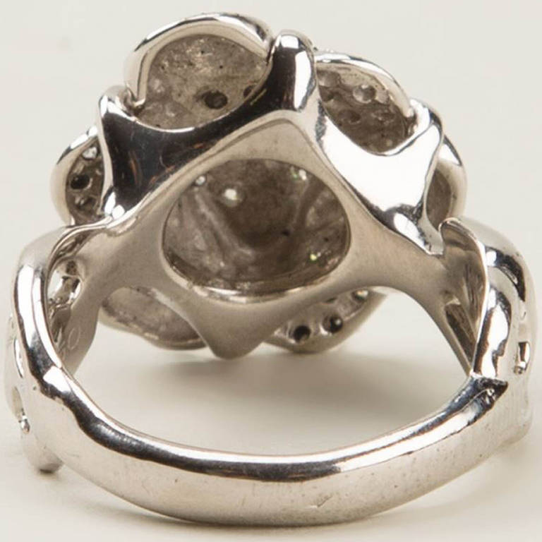 Chanel Vintage 18k White Gold Diamond Cocktail Ring In Excellent Condition For Sale In London, GB