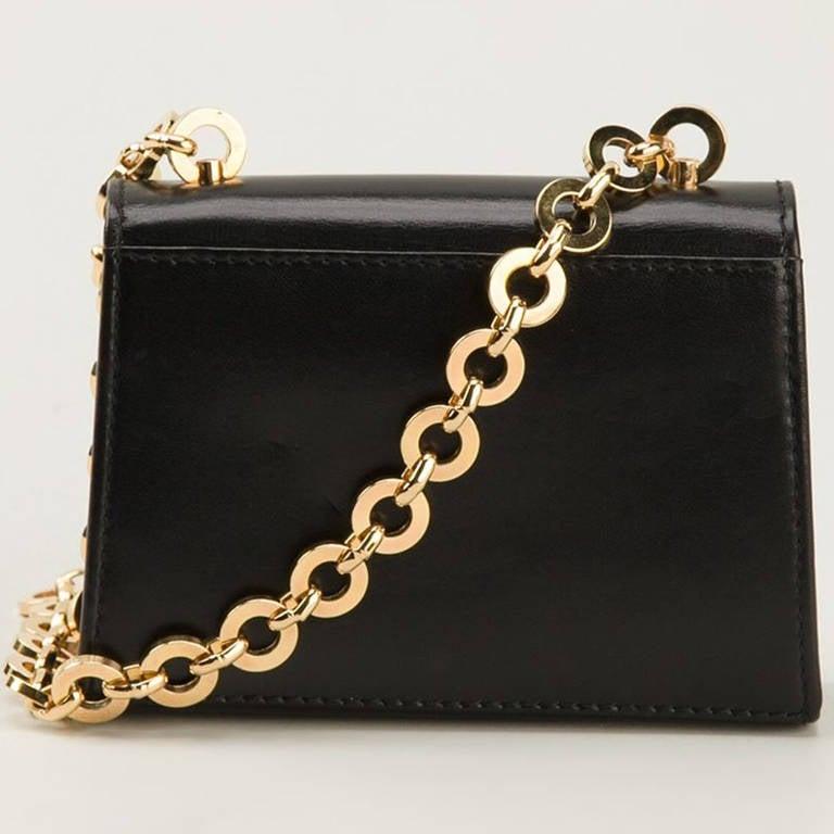 1accf83fef51 Black leather mini shoulder bag from Ferragamo Vintage featuring a. Black  Ferragamo Vintage Mini Shoulder Bag For Sale