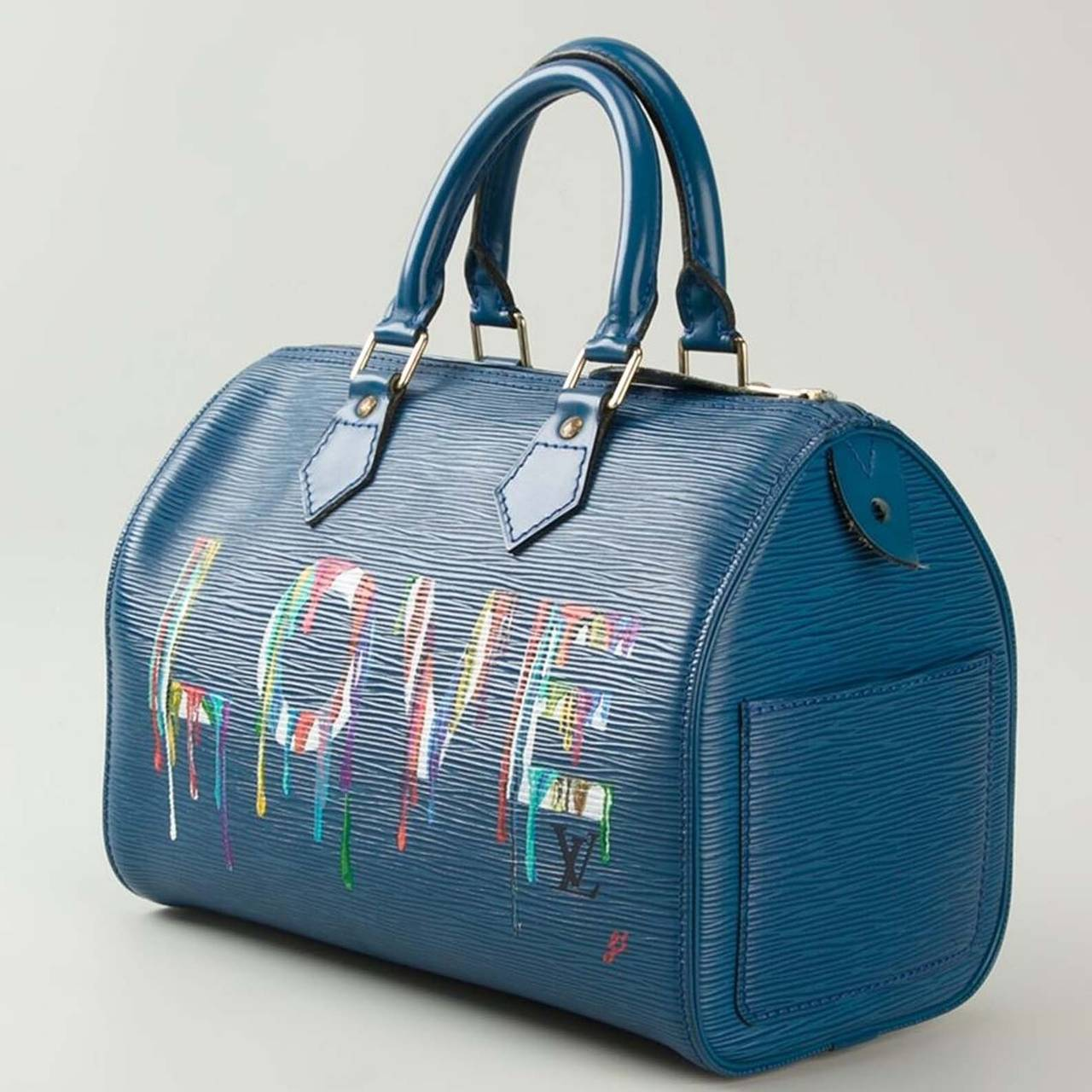 252a2532c213 Louis Vuitton Hand Painted Blue Epi Speedy Bag. This is a hand painted  vintage Louis