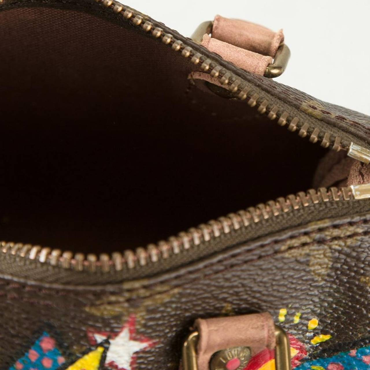 04e7e3717b75 Hand Painted Vintage Louis Vuitton Leather Monogram Mini Speedy bag. For  Sale 1