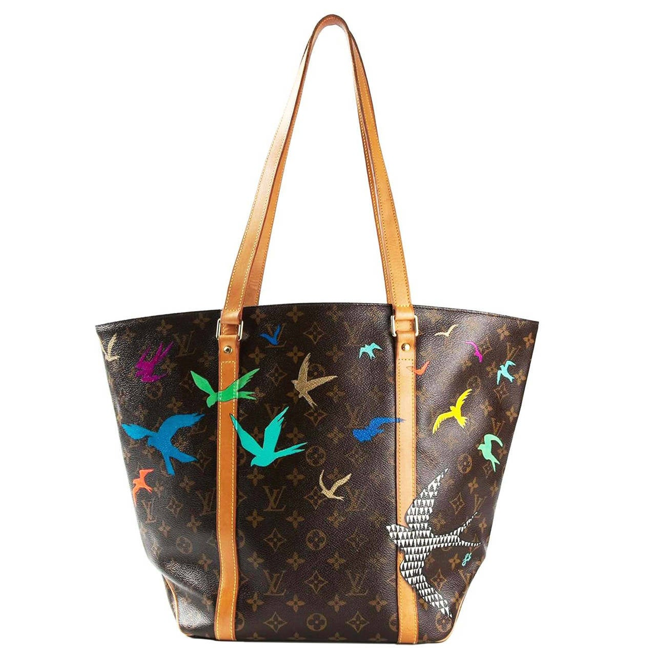 louis vuitton hand painted monogram shopper bag at 1stdibs. Black Bedroom Furniture Sets. Home Design Ideas