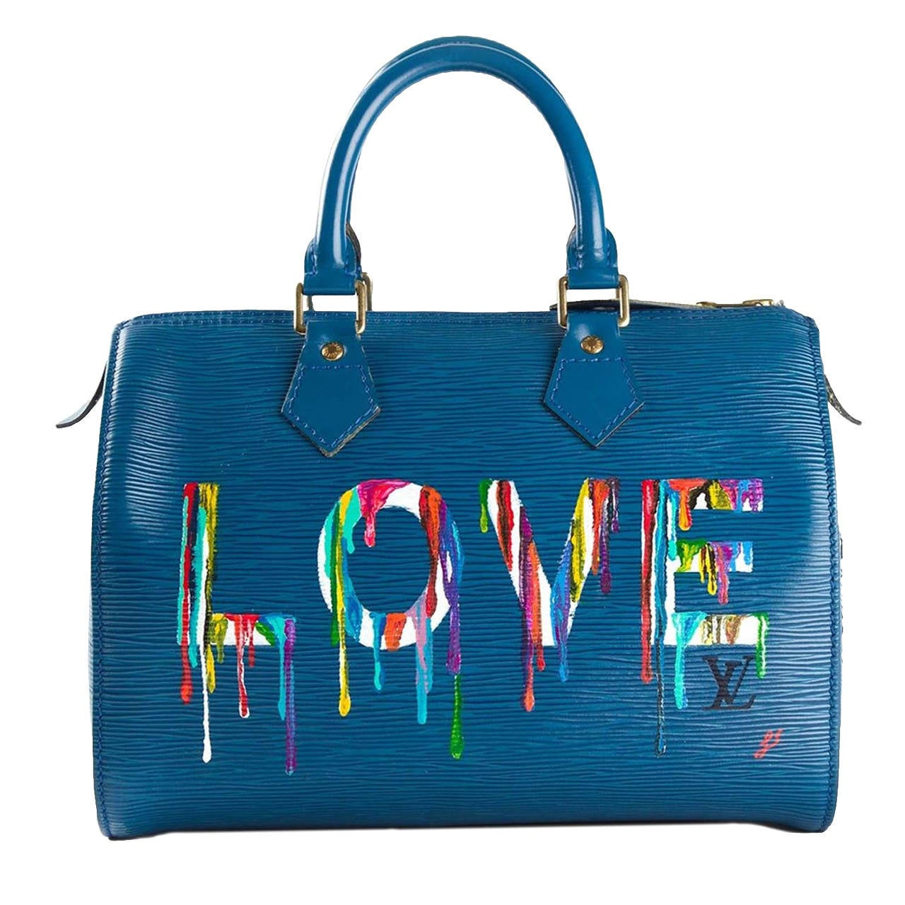 Louis Vuitton Hand Painted Blue Epi Speedy Bag at 1stdibs