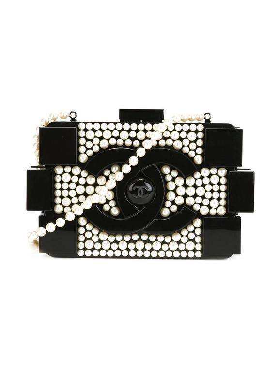 Black Chanel Vintage Lego Brick Pearl Clutch For Sale