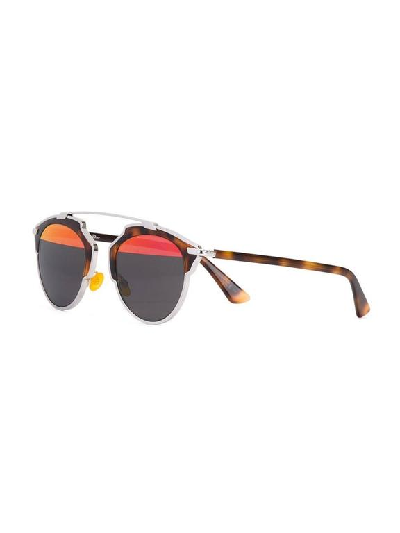 Tortoiseshell and silver-tone top bar sunglasses featuring mirrored lenses, a thin top bar and straight arms with angled tips. This item comes with a protective case.