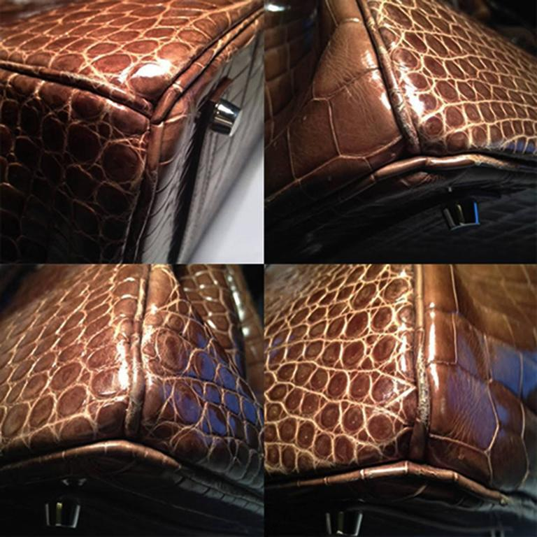 Hermes Gris Elephant Brown Crocodile Birkin 35cm 8
