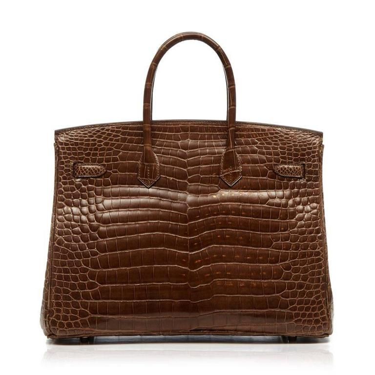 Hermes Gris Elephant Brown Crocodile Birkin 35cm 3