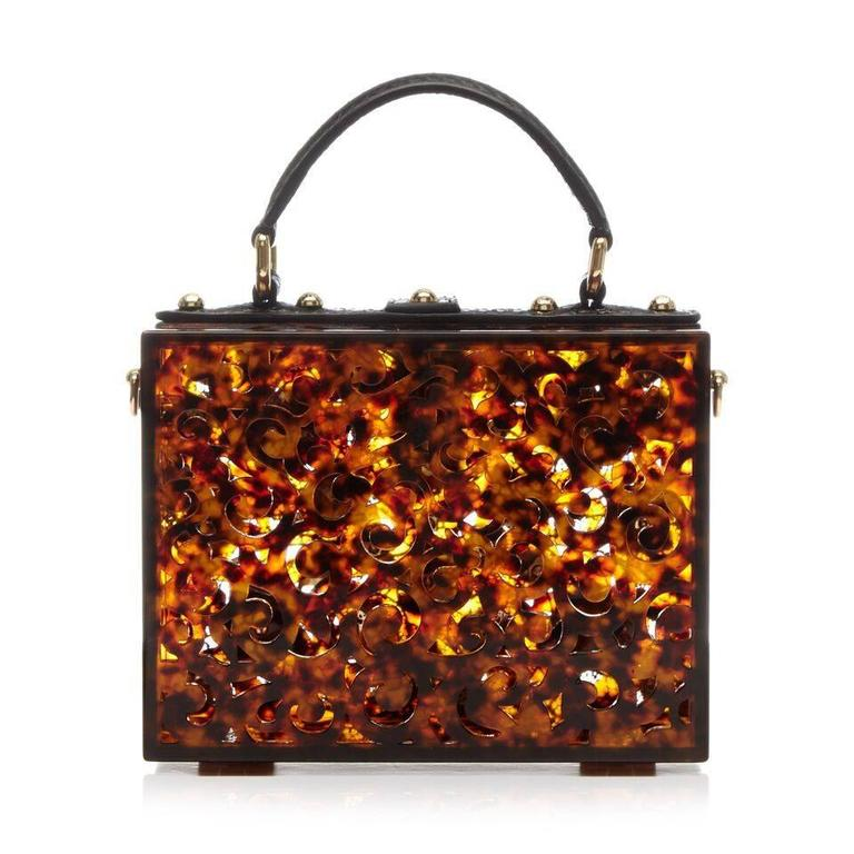 Dolce and Gabbana Tortoiseshell Flower Box Bag 2