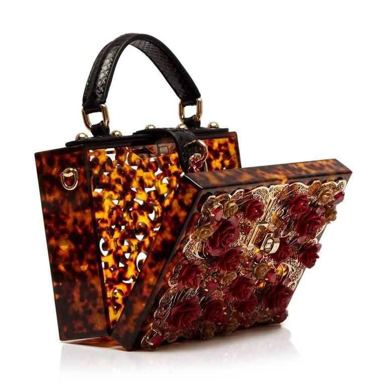 Dolce and Gabbana Tortoiseshell Flower Box Bag 3