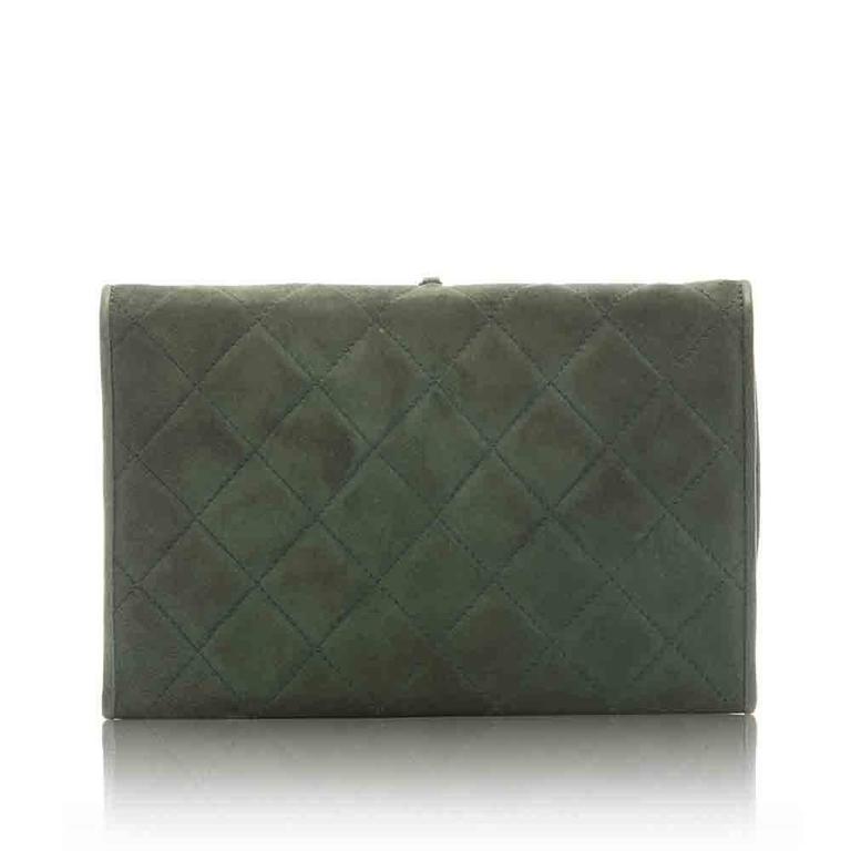 Chanel Green Suede Tassel Clutch 3