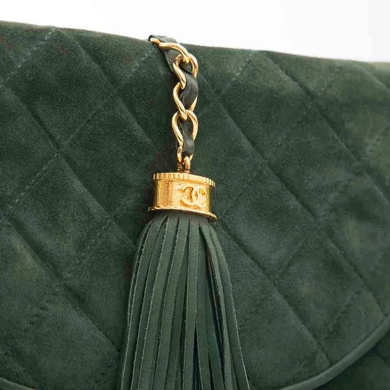 Women's Chanel Green Suede Tassel Clutch For Sale