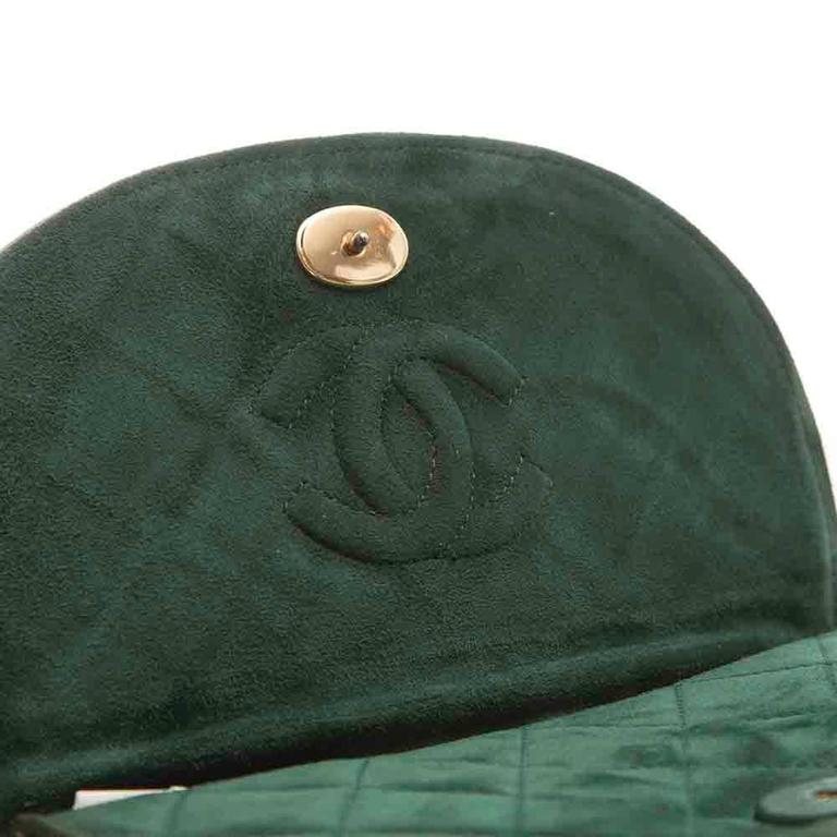 Chanel Green Suede Tassel Clutch 6