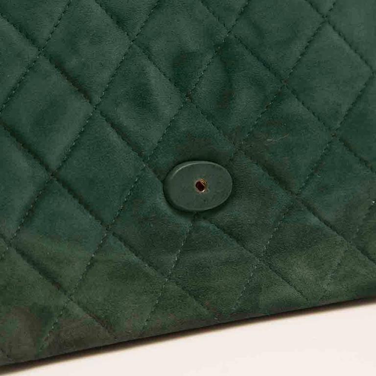 Chanel Green Suede Tassel Clutch 7