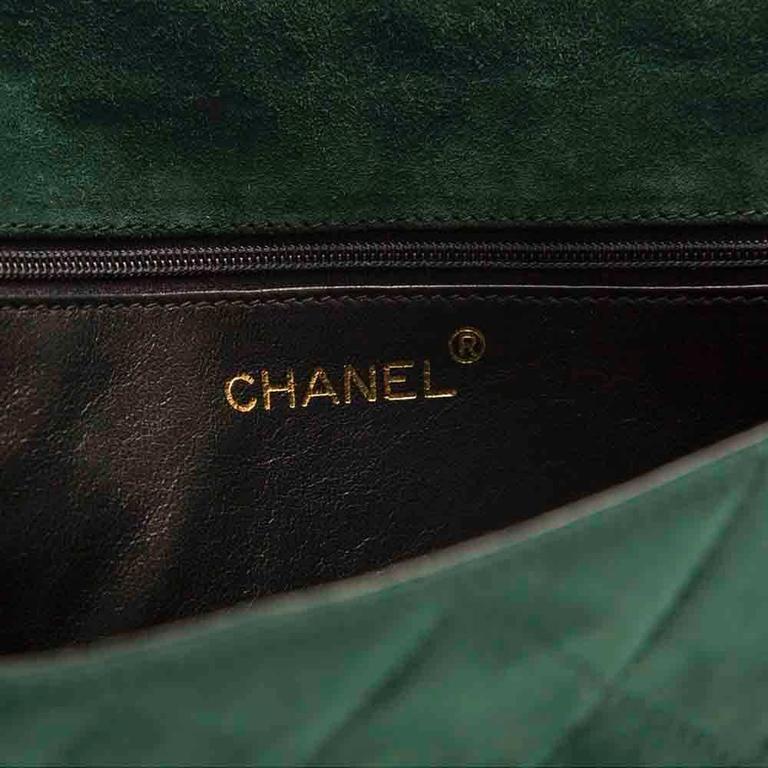 Chanel Green Suede Tassel Clutch 8