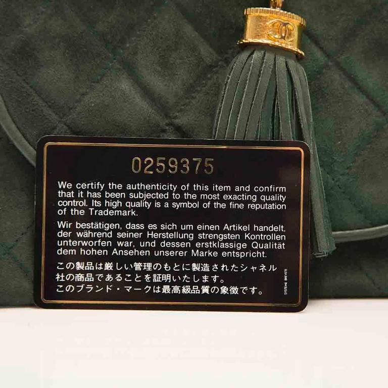 Chanel Green Suede Tassel Clutch 9