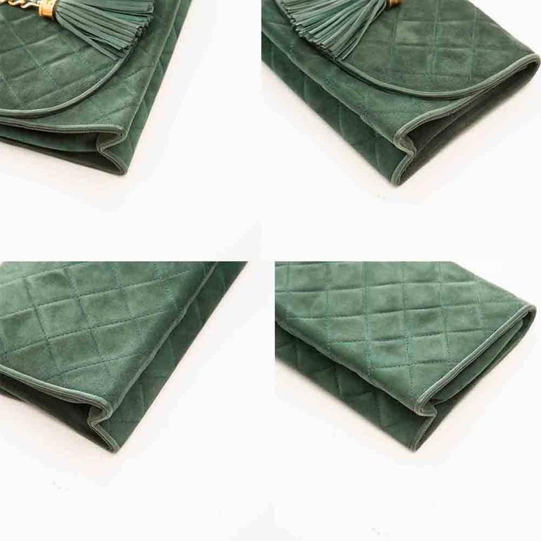 Chanel Green Suede Tassel Clutch 10