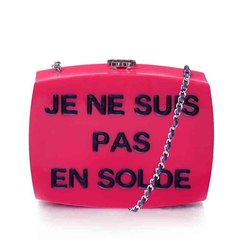 3ed3bfb0f2f154 Chanel Pink Plexiglass Equation Bag In New Condition For Sale In London, GB