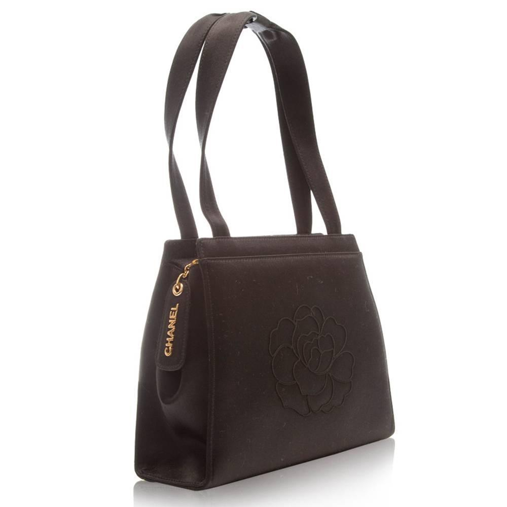 chanel black satin camellia evening bag at 1stdibs