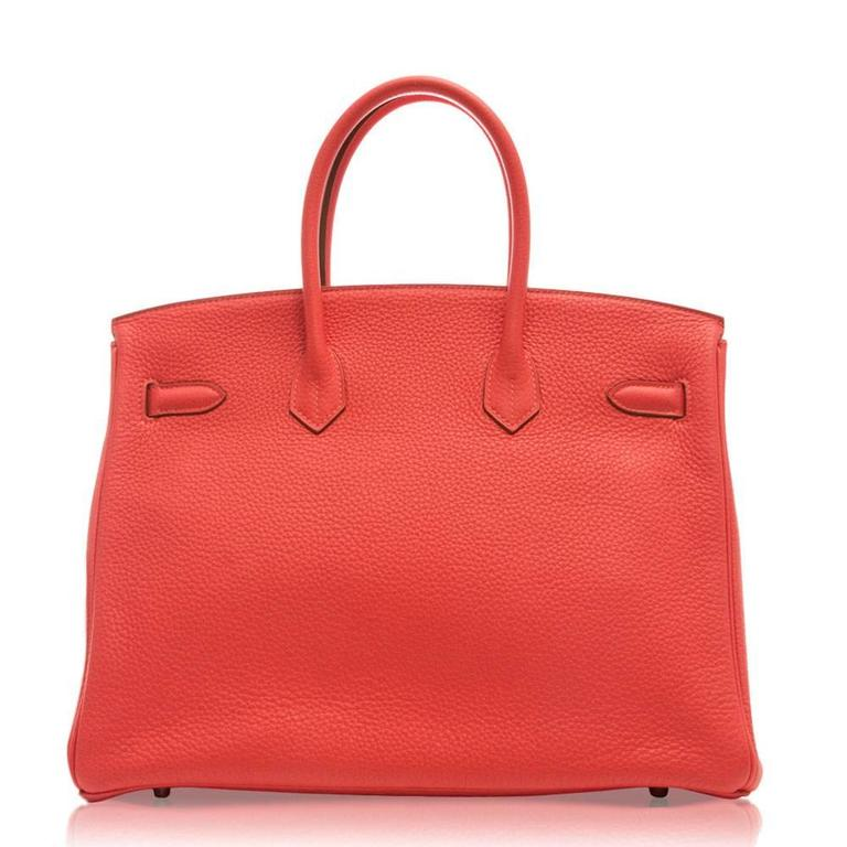 Red Hermes Rose Jaipur Birkin Bag 35cm For Sale