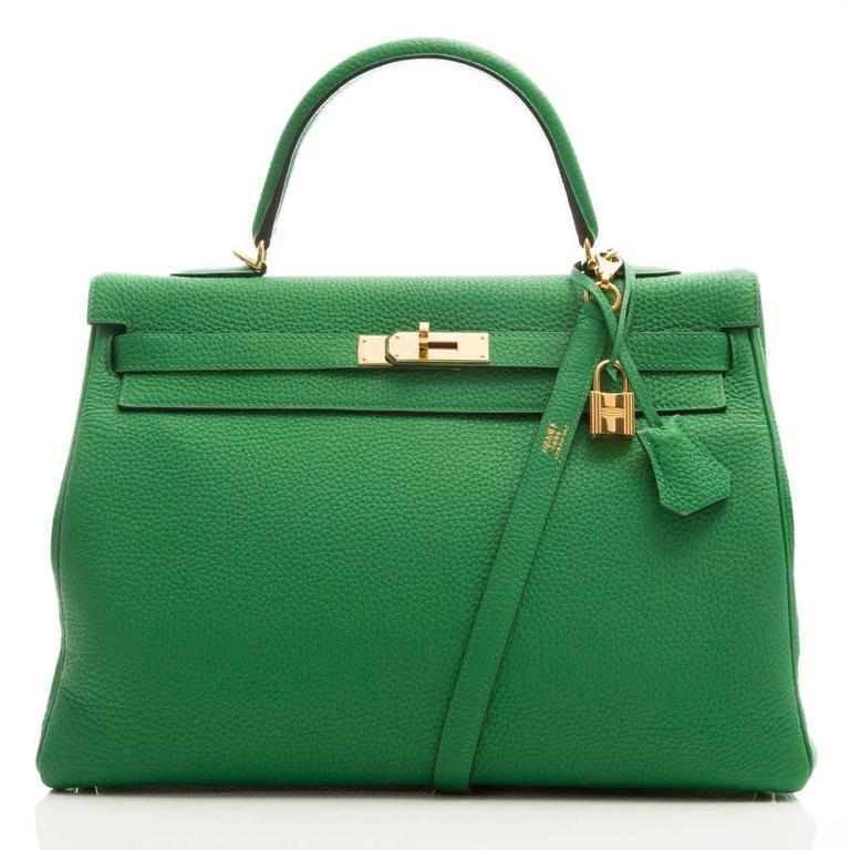 Hermes Kelly Bamboo Green Bag 35cm 2