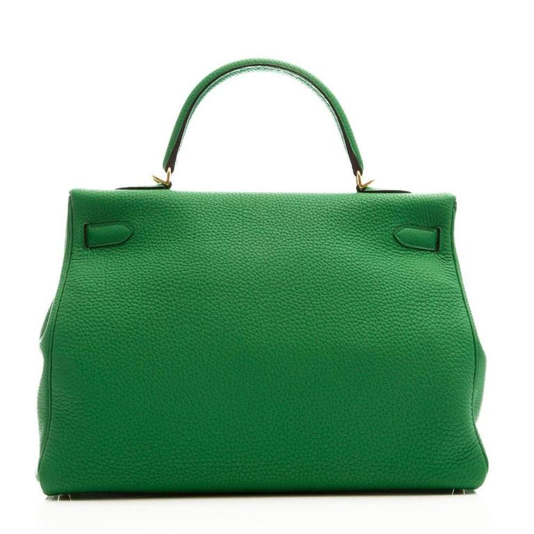 Hermes Kelly Bamboo Green Bag 35cm 3