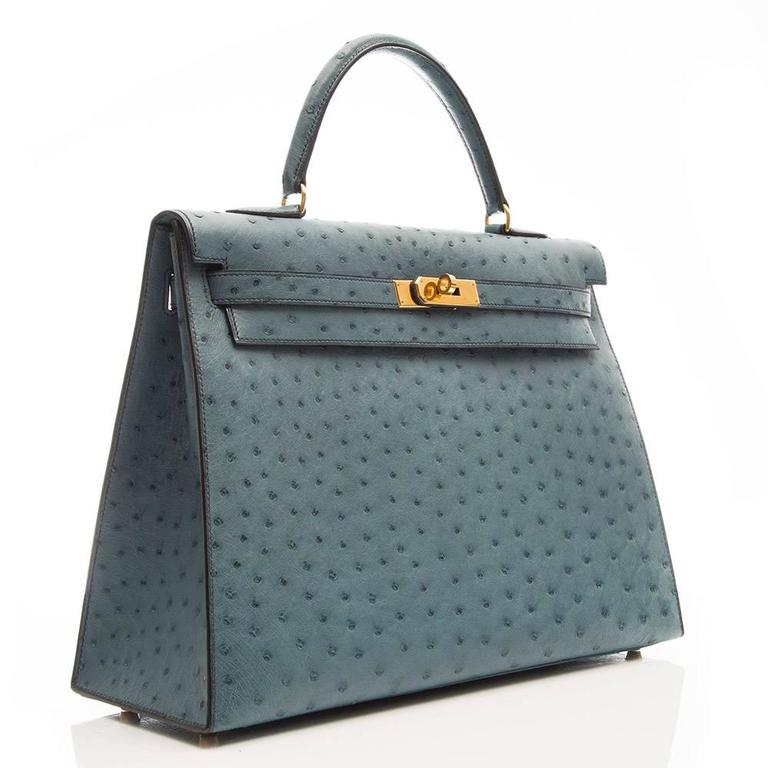 Hermes 35cm Blue Jean Ostrich Kelly Bag 3